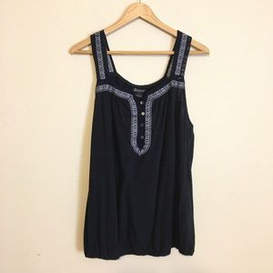 Lucky Brand | Embroidered Crochet Tank Top